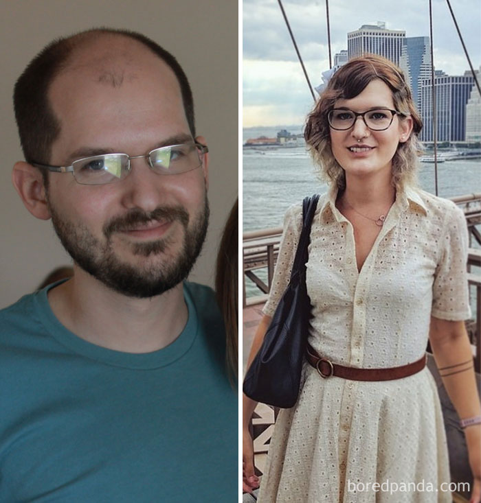 Transition male pictures female to